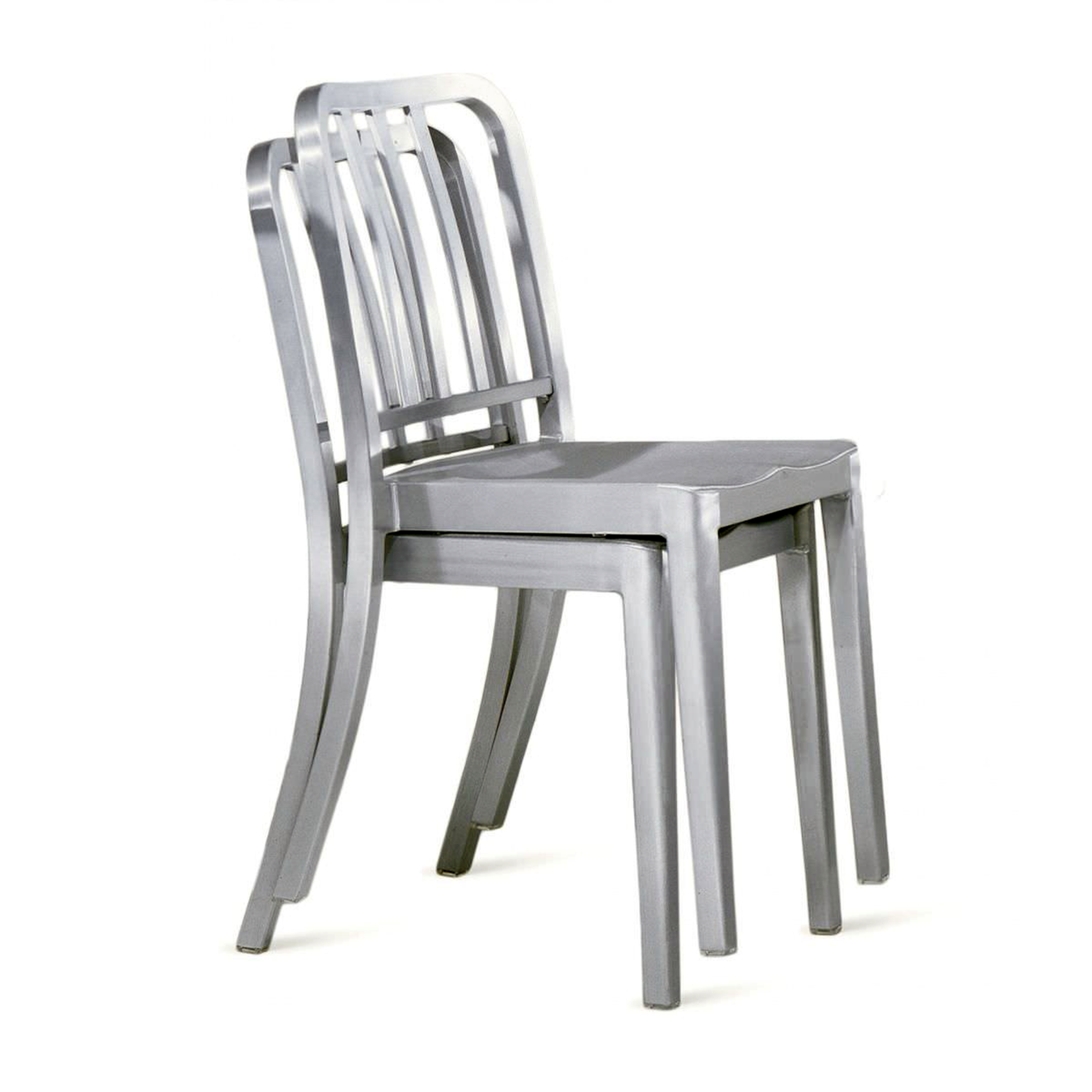 Navy Chair Metal Dining Chair With Natural Wood Seat